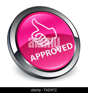 Approved (thumbs up icon) isolated on 3d pink round button abstract illustration - Stock Photo