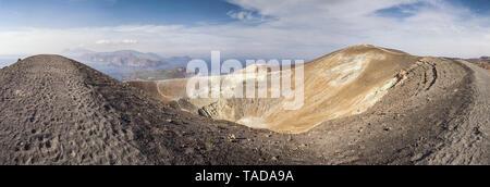 Aeolian Islands, Vulcano, Panoramic view from volcano, Gran Cratere - Stock Photo