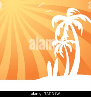 Tropical background with palm trees and surfboards at beach vector illustration - Stock Photo