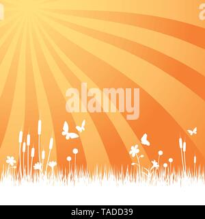 Garden background with meadow, flowers and butterflies in sunrise vector illustration - Stock Photo