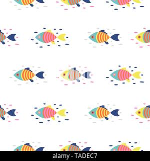 Colorful fish seamless vector pattern. Cartoon style fish background. - Stock Photo