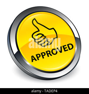 Approved (thumbs up icon) isolated on 3d yellow round button abstract illustration - Stock Photo