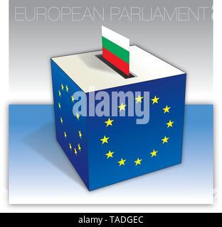 Bulgaria voting box, European parliament elections, flag and national symbols, vector illustration - Stock Photo