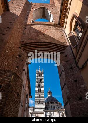 Italy, Tuscany, Siena, Siena Cathedral, View through Facciatone