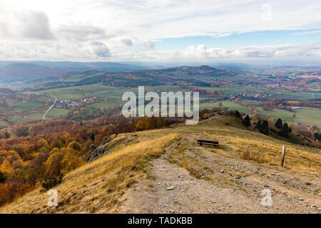 Germany, Hessian Rhoen Nature Park, autumn on the Wasserkuppe - Stock Photo