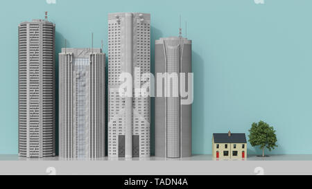 3D rendering, Residential house facing skyscrapers - Stock Photo