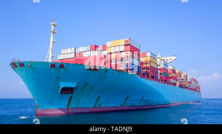 Aerial footage of an Ultra large container vessel (ULCV) cruising in the Mediterranean sea. - Stock Photo
