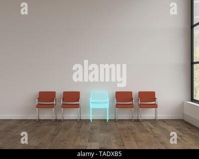 3D rendering, Hologram of chair in modern room with row of different chairs