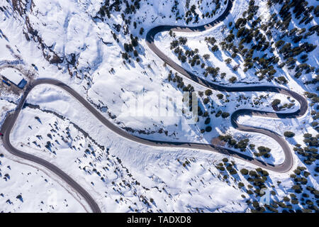 Austria, Tyrol, Kaunertal, glacier road in winter, aerial view