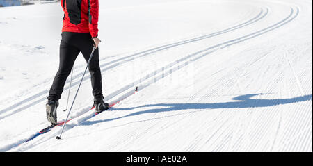 Austria, Tyrol, Achensee, close-up of man doing cross country skiing - Stock Photo