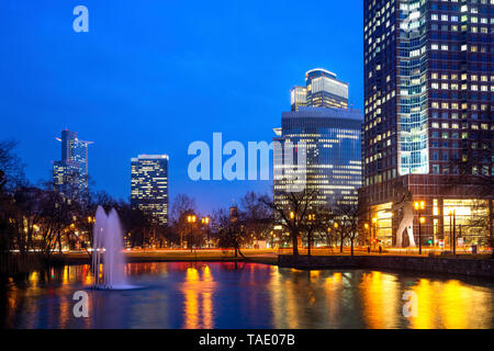 Germany, Frankfurt, Ludwig Erhard complex with view towards Frankfurt city center - Stock Photo