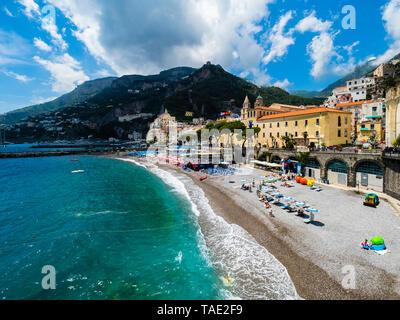 Italy, Campania, Sorrento Peninsula, Amalfi Coast, Amalfi with cathedral - Stock Photo