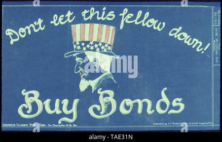 Don't Let This Fellow Down Buy War Bonds - Stock Photo