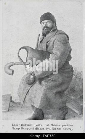 Belorussian bagpiper Russian empire Vilno region - Stock Photo