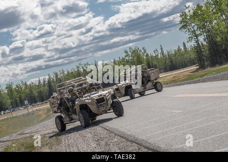 U.S. Marines with 2nd Battalion, 7th Marines, Special Purpose Marine Air Ground Task Force 7, conduct a notional raid on the Polaris MRZR 4 vehicles during exercise Northern Edge (NE), May 22, 2019 at Fort Greely, Alaska. Approximately 10,000 U.S. military personnel participate in exercise NE 2019, a joint training exercise hosted by U.S. Pacific Air Forces that prepares joint forces to respond to crises in the Indo-Pacific region. (U.S. Marine Corps photo by Cpl. Rhita Daniel) - Stock Photo