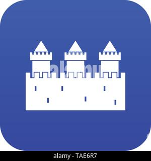 Medieval wall and towers icon digital blue - Stock Photo