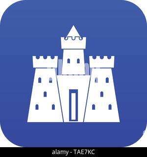 Ancient castle palace icon digital blue - Stock Photo