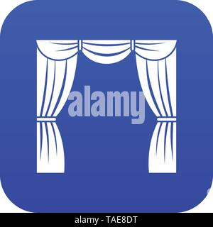 Curtain on stage icon digital blue - Stock Photo