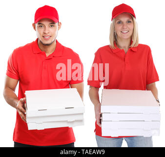 Pizza delivery woman man order delivering job young isolated on a white background - Stock Photo