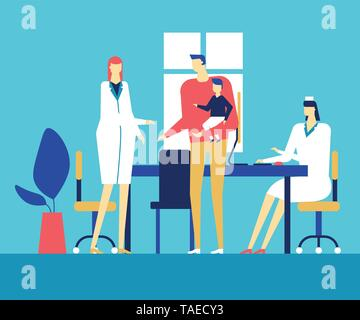 Visiting a doctor - colorful flat design style illustration - Stock Photo
