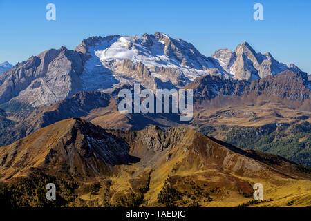 The Marmolada (3343 m) and the last glacier of the Dolomites, seen from the peaks of Lagazuoi, Massif des Dolomites, Tyrol, Italy - Stock Photo