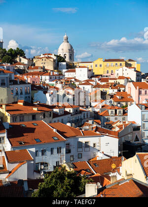 Portugal, Lisbon, Alfama, View from Miradouro de Santa Luzia over district, National Pantheon in the background - Stock Photo