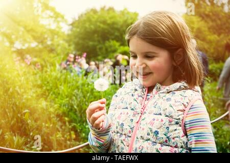 A cute little girl in sunny summer day at green nature background blowing dandelion - Stock Photo