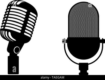 Two retro microphones sign. Silhouette microphone. Music icon, mic. Flat design vector illustration - Stock Photo