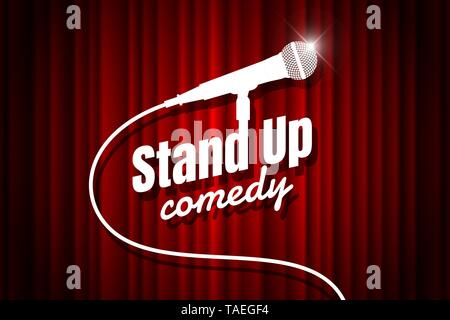 Stand up comedy night live show open mic on empty theatre stage. Microphone against red curtain backdrop. Vector art image illustration - Stock Photo