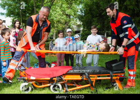 BRATISLAVA, SLOVAKIA - MAY 18, 2019: First-aid training course for young kids held in Bratislava, Slovakia - Stock Photo