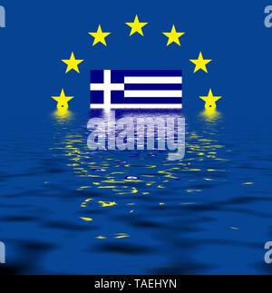 EU-Zeichen mit der Flagge von Griechenland, die Sterne schützen symbolisch das Land Griechenland, Symbolfoto für Europa, alles versinkt im Wasser - Stock Photo