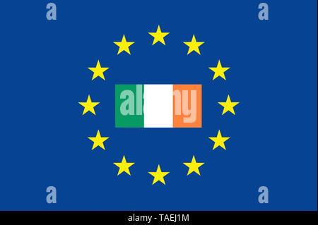 EU-Zeichen mit der Flagge von Irland, die Sterne schützen das Land, Symbolfoto für Europa - Stock Photo