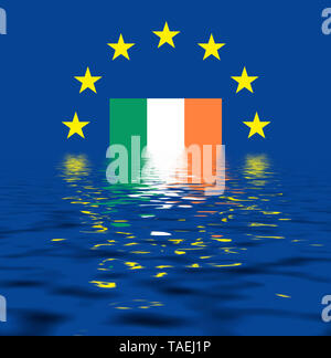 EU-Zeichen mit der Flagge von Irland, die Sterne schützen symbolisch das Land Irland, Symbolfoto für Europa, alles versinkt im Wasser - Stock Photo