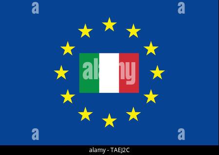 EU-Zeichen mit der Flagge von Italien, die Sterne schützen das Land, Symbolfoto für Europa - Stock Photo
