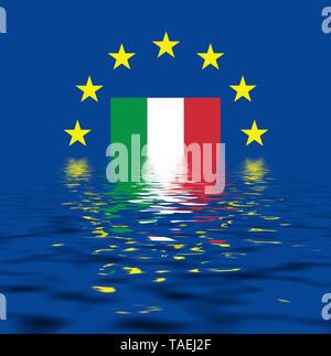 EU-Zeichen mit der Flagge von Italien, die Sterne schützen symbolisch das Land Italien, Symbolfoto für Europa, alles versinkt im Wasser - Stock Photo