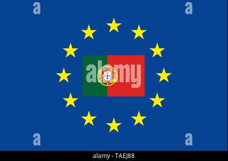 EU-Zeichen mit der Flagge von Portugal, die Sterne schützen symbolisch das Land Potugal, Symbolfoto für Europa - Stock Photo