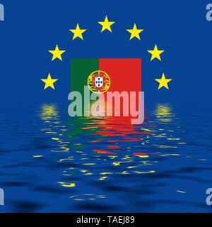 EU-Zeichen mit der Flagge von Portugal, die Sterne schützen symbolisch das Land Potugal, Symbolfoto für Europa, alles versinkt im Wasser - Stock Photo