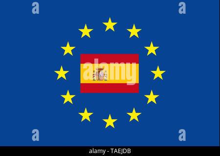 EU-Zeichen mit der Flagge von Spanien, die Sterne schützen symbolisch das Land Spanien, Symbolfoto für Europa - Stock Photo