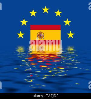 EU-Zeichen mit der Flagge von Spanien, die Sterne schützen symbolisch das Land Spanien, Symbolfoto für Europa, alles versinkt im Wasser - Stock Photo