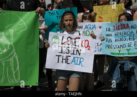 Students are seen holding placards during the protest. Fridays for Future movement organized a protest worldwide against climate change. - Stock Photo
