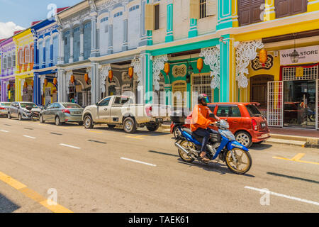 A streetv scene in George Town Malaysia - Stock Photo