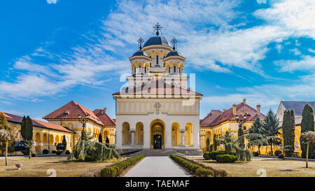 Beautiful view to the Coronation Reunification Cathedral in Alba Iulia city, Romania. - Stock Photo