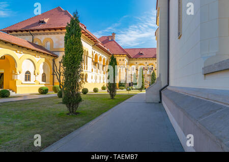 Beautiful view to the pavilion and gallery of the Coronation Reunification Cathedral in Alba Iulia city, Romania. - Stock Photo