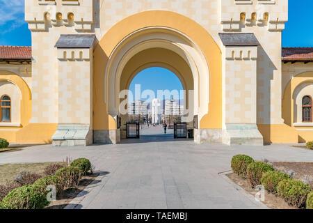 Beautiful view to the Coronation Reunification Cathedral in Alba Iulia city, Romania. A church a sunny day in Alba Iulia, Romania. - Stock Photo