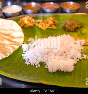 Square view of a typical vegetarian thali meal in India. - Stock Photo