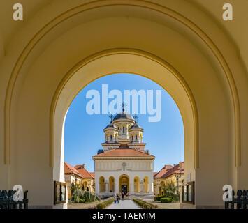 ALBA IULIA, ROMANIA - February 28, 2019: Beautiful view to the Coronation Reunification Cathedral in Alba Iulia city, Romania. A church a sunny day in - Stock Photo