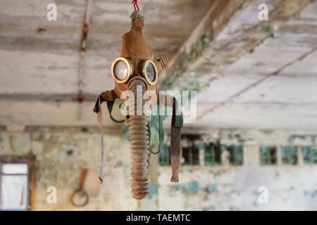 The Number 3 Middle School, Pripyat, Ukraine, inside the Chernobyl Exclusion Zone - Stock Photo