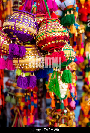 Vertical view of Pongal decorations on sale in India. - Stock Photo