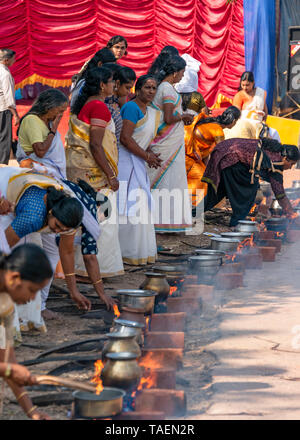 Vertical streetview of Pongal celebrations in Tamil Nadu, India. - Stock Photo