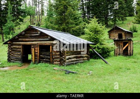 Old cabins in Garnet Ghost Town near Missoula, Montana, USA - Stock Photo